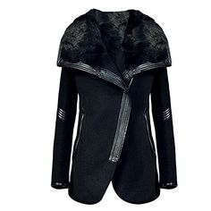Women Oblique Zipper Faux Fur TurnDown Collar PU Patchwork Wool Coat Jacket US L  Asian Tag XXL * You can get additional details at the image link.
