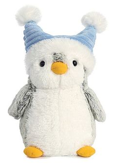 "Our fun Waddles Pom Pom Penguin Plush wearing a fun blue fabric hat is cool and cute. This 9"" tall penguin from Aurora meets or exceed all US standards for safety and materials."