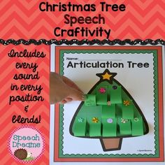 Speech Craftivity: Christmas Tree Speech Craft for articulation or language: What a fun way to practice your speech words and make a delightful Christmas tree craftivity.  Every sound in every position plus blends are included.  You have 10 words for every sound in the  initial, medial and final position of words.