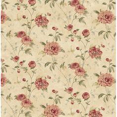 ~CG11357 Rust Peony Floral Trail - Priscilla - Cottage Garden Wallpaper by Chesapeake~