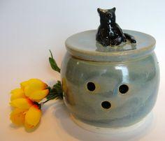 Garlic Keeper Black Cat Blue Ceramic by RisingStarPottery1 on Etsy, $32.00