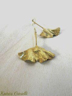 I miei Ginkgo_ Handmade brass earrings by Kairòs Gioielli