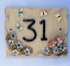 House number plaque, mushroom and butterfly design, door number. by Sallyamoss…