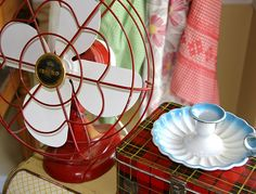 Adore the red fan and tartan lunch box.
