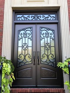 A Masterpiece Front Door is a solid composite material that has the look, feel and weight of solid hardwood without rot, split or crack. Steel Gate Design, Door Gate Design, Front Door Design, Iron Front Door, House Front Door, Gate Designs Modern, Window Grill Design Modern, Tor Design, Double Doors Exterior