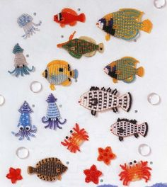 beaded ocean critters (page includes mermaids) - instructions in russian, but diagrams are included
