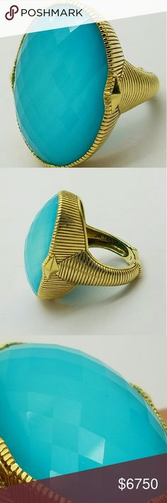 18k Solid Gold Judith Ripka Turquoise Doublet Ring I think the pictures and Judith Ripkas designs speak for themselves. But - this is a large cocktail ring turquoise doublet quartz stone set in solid 18k yellow gold. Full hallmarks JR 18k ?. Ring is in perfect condition, the stone seems to have a slight wiggle, but has been like that since I received it. It's is secure, and ready for wearing. Size 7. Weighs 15.8 grams on my scale. This is a hard to find Ripka piece, please ask any questions…