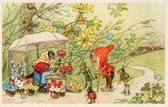 Vintage Postcard 60s gnome Fritz Baumgarten