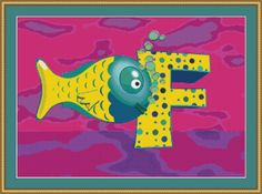 F Is For Fish Cross Stitch Pattern