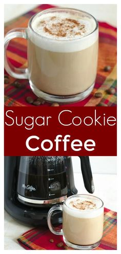 holiday drinks Sugar Cookie Coffee - A great holiday drink recipe made with just a few simple ingredients! Tastes just like a sugar cookie! Christmas Coffee, Christmas Drinks, Holiday Drinks, Holiday Recipes, Christmas Recipes, Christmas Dishes, Winter Drinks, Simple Christmas, Coffee Drink Recipes