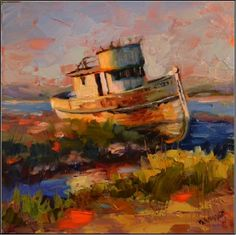 Spit+up,+Tossed+about,+Knocked+around,+and+Left+to+Rot+,+8x8,+oil+on+gallery-wrapped+gessoboard+,+old+boats,+Point+Reyes+National+seashore,+wooden+boats,+Pacific+Ocean,+painting+by+artist+Maryanne+Jacobsen