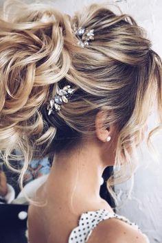 Elegant loose wavy chignon - Modern wedding updo - via tonyastylist Tonya Pushkareva - Wedding hairstyle Elegant Wedding Hair, Wedding Hairstyles For Long Hair, Elegant Hairstyles, Wedding Hair And Makeup, Up Hairstyles, Beautiful Hairstyles, Hairstyle Wedding, Hairstyle Ideas, Bridal Hairstyles
