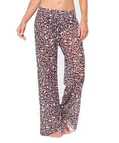 Brown & White Semi-Sheer Mesh Pants