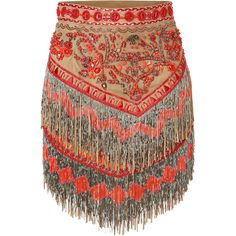EMILIO PUCCI Suede Embellished Fringed Skirt | The beading on this skirt? So beautiful!
