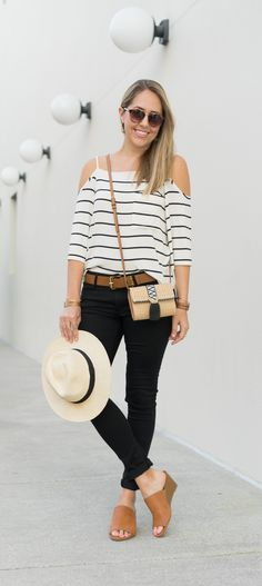 Stripe cold shoulder top, black skinny jeans, cognac mules from Stitch Fix. #ad // Shopping just does not get any easier than this! I love being able to try things on at home and send back what doesn't work.