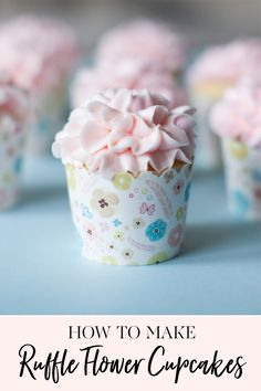 Today I'm sharing how to make my Ruffle Flower Cupcakes. I've been making these ruffled cupcakes for years and they just never get old. No matter what color Cupcake Tray, Cupcake Icing, Cupcake Cakes, Diy Cupcake, Cupcake Ideas, Vintage Cupcake, Candy Cakes, Rose Cupcake, Cupcake Toppers