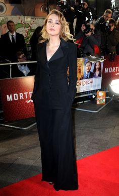 Amber Heard sports a sleek black suit at the London premiere of Mortdecai on January 19, 2015.
