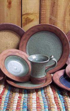 Love this rustic river dinnerware
