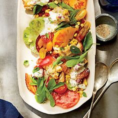 Another winner from the august issue of cooking light! a deconstucted - but better version - of the classic blt. served with a simple grilled chicken breast for a quick weeknight meal. BLT Panzanella Salad   MyRecipes.com