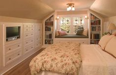 4 Wonderful Tips: Bedroom Remodel On A Budget Room Makeovers bedroom remodel projects.Master Bedroom Remodel On A Budget guest bedroom remodel master bath.Master Bedroom Remodel On A Budget. Attic Master Bedroom, Attic Bedrooms, Upstairs Bedroom, Bedroom Loft, Guest Bedrooms, Home Bedroom, Bedroom Decor, Attic Bathroom, Guest Room