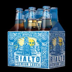 RIALTO BEER: El Salvador has a rich history of sun worship. (Packaging design by Stranger & Stranger)