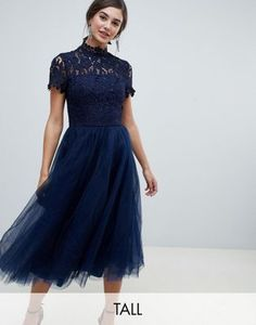 890a604a Chi Chi London Tall high neck lace midi dress with tulle skirt in navy
