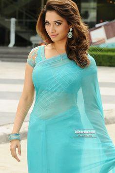 Tamanna Bhatia Latest Hot & Spicy Stills In a Transparent Blue Saree. - Page 2 Indian Sari Dress, Indian Actress Photos, Indian Dresses, Blue Saree, Indian Women, Saree Designs, Stylish Actresses