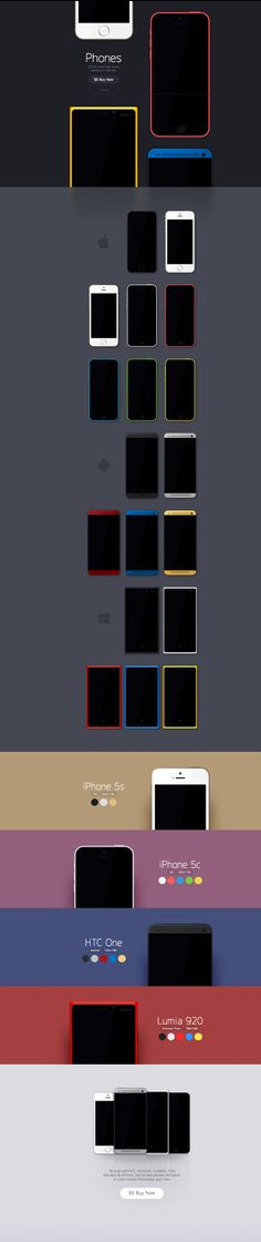 18 fully vectorized phones delivered in PSD files