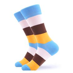 These bold &cool striped socks will add happiness to your day. Grab a pair now. Made with Cotton, Nylon, and Spandex, these Unisex socks are perfect for US Size feet. Funky Socks For Men, Brown Socks, Yellow Socks, Crazy Socks, Striped Socks, Blue Yellow, Don't Care, Happiness, Stripes