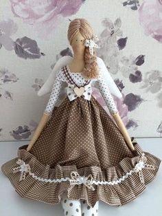 Кукла Тильда. Выкройки, идеи *Мамины Тильда* Doll Crafts, Diy Doll, Doll Toys, Baby Dolls, Tilda Toy, Angel Crafts, Sewing Dolls, Girls Party Dress, Doll Hair