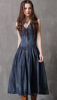 6dee62eb6e0 Buy Chic Slim V-Neck Sleeveless Denim Skater Dress with High Quality and  Low Price