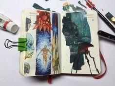 342 of 365 Sketchbook Drawings, Art Sketches, Amazing Drawings, Amazing Art, Sketchbook Assignments, Notebook Art, Sketchbook Inspiration, Traditional Paintings, Marker Art