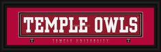 "Temple University ""Owls"" - 8 x 24 Stitched Jersey Framed Print"