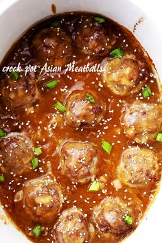 Crock Pot Asian Meatballs - Tender and juicy meatballs slow cooked in an amazing sweet and tangy pineapple-soy sauce.
