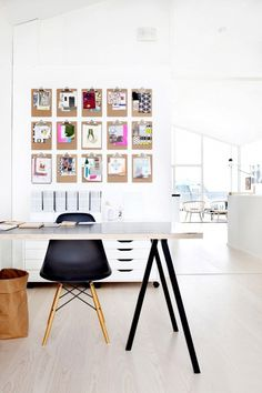 To make switching out prints even easier, create a gallery or mood board of clipboards. Clipboards force you to keep your collection of prints organized and allow you to easily rotate your prints as your style or project changes.
