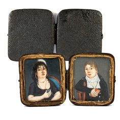 Antique 1700s French HP Portrait Miniature Pair, Couple in Original from antiques-uncommon-treasure on Ruby Lane