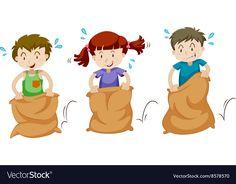 Three children jumping in sacks Royalty Free Vector Image Cartoon Sun, Cartoon Faces, Sports Day Certificates, Bday Background, Jump Animation, Teacher Cartoon, Childhood Memories 90s, School Clipart, Dibujos Cute
