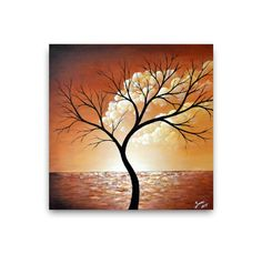 Abstract tree painting seascape paintings original by ZarasShop