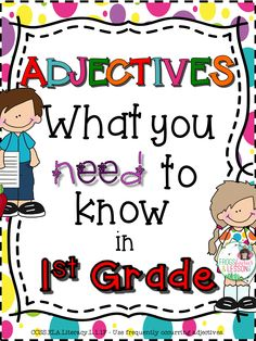 Comprehensive adjectives resource! This product consists of 16 practice worksheets that target the Common Core standards for Adjectives in First Grade, a Literacy Center, and Editable Templates. Meant to be used throughout the year as practice and review.