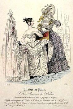 Modes de Paris, Le Petit Courrier des Dames, Fashion Plate, showing a woman wearing a corset.  July 1837