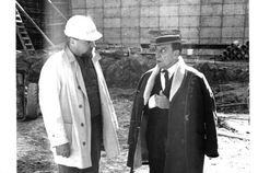 "Buster Keaton with director John Sebert on the set of ""The Scribe,"" shot at Toronto's MacDonald Block in 1965."