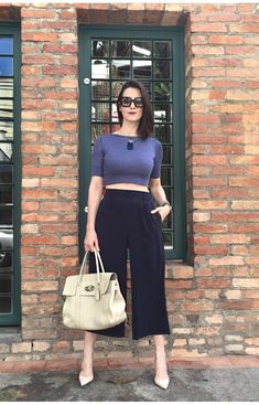 Look do Dia | Pantacourt cintura alta e top cropped  Read more…