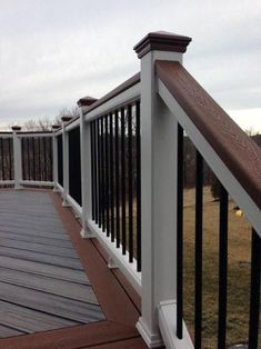 Top 70 Best Deck Railing Ideas - Outdoor Design Inspiration From modern glass panels to steel wire, rustic wood branches and beyond, discover the top 70 best deck railing ideas. Deck Railing Design, Backyard Patio Designs, Deck Railings, Outdoor Railings, Front Porch Railings, Cool Deck, Diy Deck, Deck Colors, Decking Colours Ideas