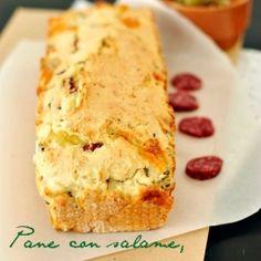 Pane senza glutine con salame, formaggio e olive. Condivisa da: http://www.glu-fri.com