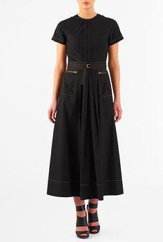 I <3 this Cotton poplin belted midi shift dress from eShakti