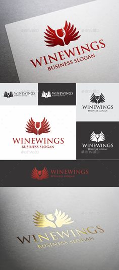 Wine Wings  — EPS Template #branding #classy • Download ➝ https://graphicriver.net/item/wine-wings/18431367?ref=pxcr