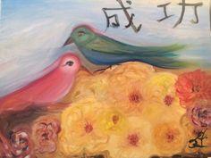 Modern-Chinese-Success-Painting-Birds-Yellow-Peonies-by-Paula-Gabay-Original-Oil
