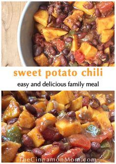 sweet potato chili, sweet potato recipes, easy dinner recipes for family, vegetarian recipes healthy Sweet Potato Dinner, Sweet Potato Chili, Sweet Potato Recipes, Healthy Dinner Recipes, Vegetarian Recipes, Delicious Recipes, Yummy Food, Three Bean Chili Recipe, Savoury Dishes