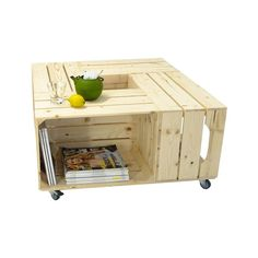 Table basse bois originale 4 niches de rangement