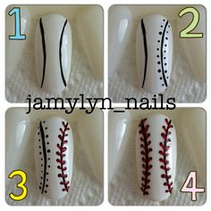 How to - Baseball nails. Can do the same for Softball nails, just change the white nail polish. Softball Nails, Baseball Nails, Baseball Stuff, Get Nails, How To Do Nails, Hair And Nails, Nail Polish Designs, Cute Nail Designs, Gorgeous Nails